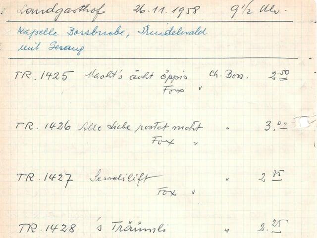 Handgeschriebenes Dokument aus dem Jahr 1958.