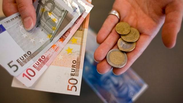 Dapli u damain daners: Las opiniuns co il curs da l'euro sa sviluppescha il proxim temps van dapart.