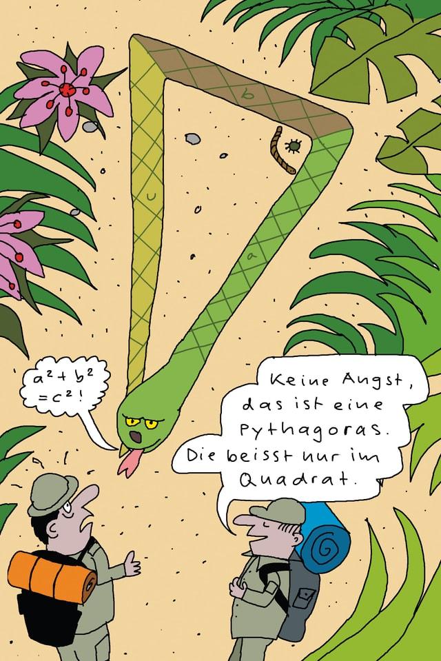 Cartoon: Eine dreieckige Pythagoras-Schlange
