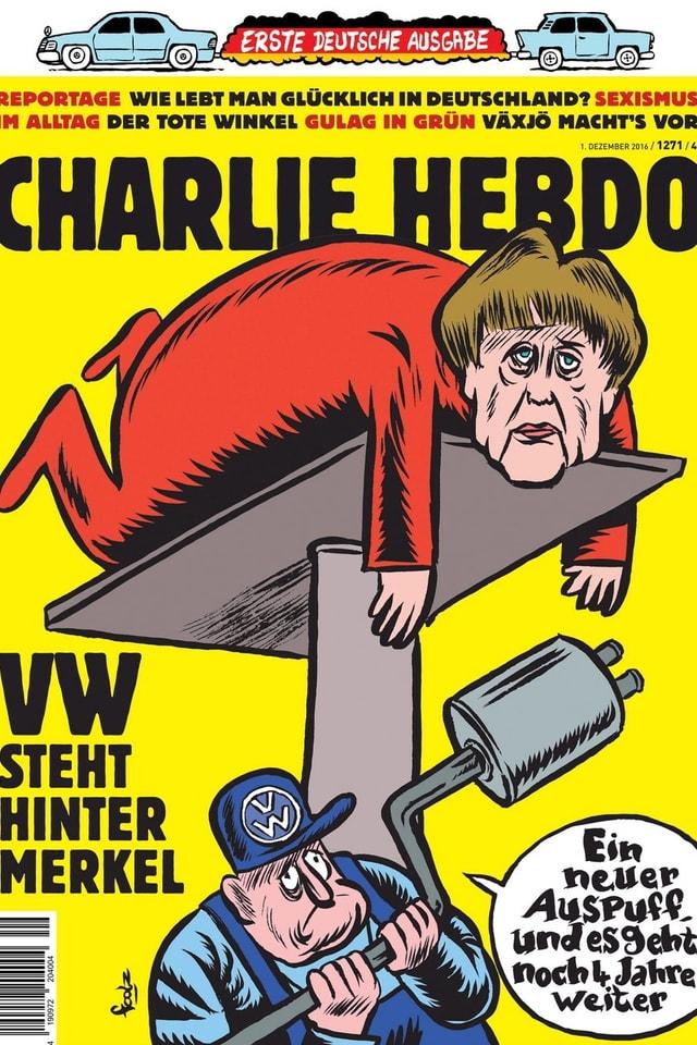 Ein Bild der ersten deutschen Ausgabe von «Charlie Hebdo».