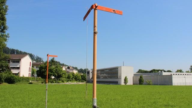 Grüne Wiese und im Hintergrund die Haftanstalt Grosshof