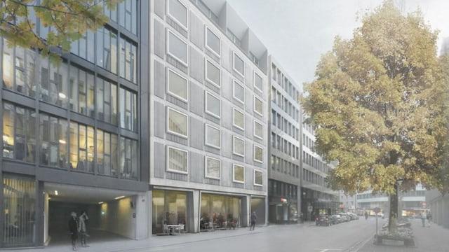 Das geplante Hotel am Brunngässlein beim Basler Picassoplatz.