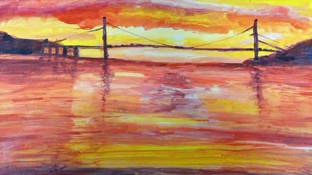 Abdualmalik Abud Bild einer Hängebrücke im Abendrot.