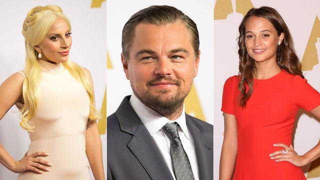 Lady Gaga, Leonardo DiCaprio und Alicia Vikander posieren für die Fotografen auf dem roten Teppich.