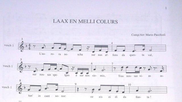"""La nova chanzun """"Laax en melli colurs"""", cumponida da Mario Pacchioli."""