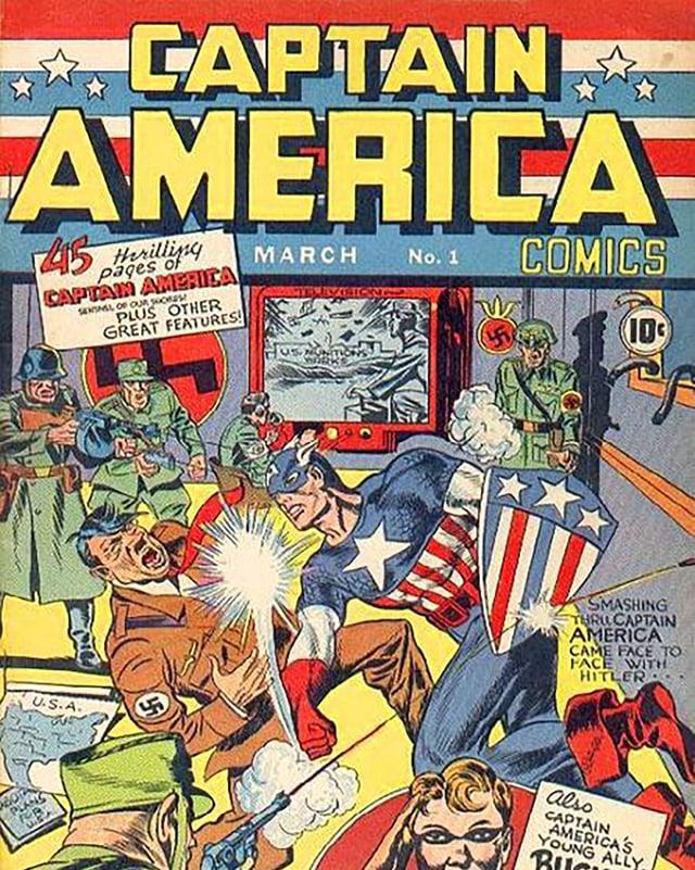 Ein Comic-Cover, auf dem ein Superheld Adolf Hitler schlägt
