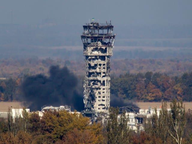 Der zerstörte Airport Tower.