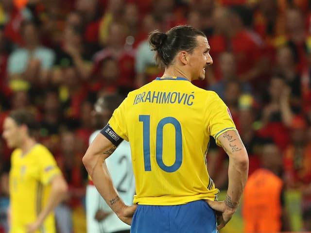 Zlatan Ibrahimovic steht auf dem Rasen, die Aufnahme zeigt ihn von hinten.