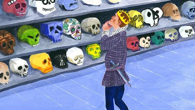 Illustration: Hamlet steht vor einem Regal mit vielen verschiedenen Totenköpfen