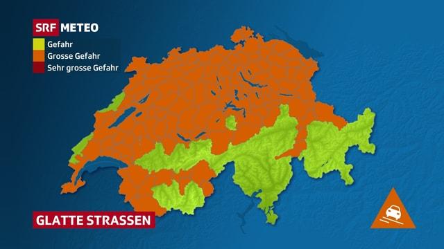 Eine Schweizer Karte zeigt Regionen mit einer laufenden Glättewarnung.