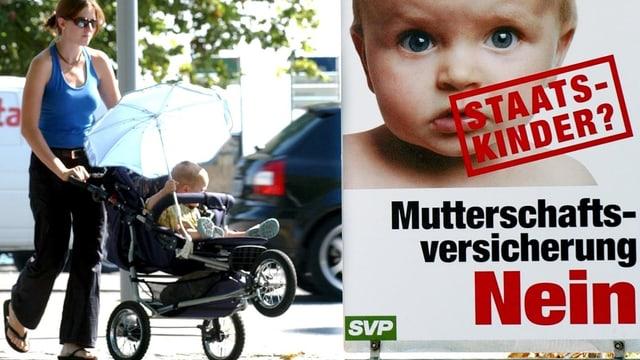 Ein Plakat der SVP gegen die Mutterschaftsversicherung.