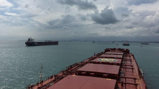 Ein grosser Frachter fährt auf einen Hafen zu.