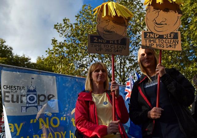 Leute mit Schildern. Darauf steht: Second Referendum.