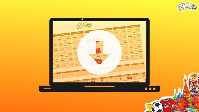 Ein WM-Spielplan auf dem Laptop-Bildschirm zum herunterladen