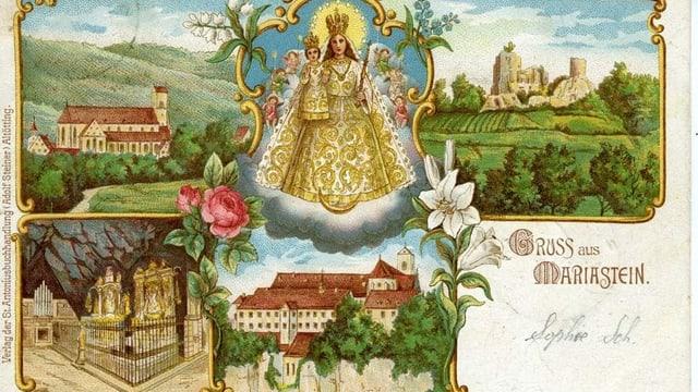 Farbige Postkarte vom Kloster Mariastein mit gezeichneten Bildern