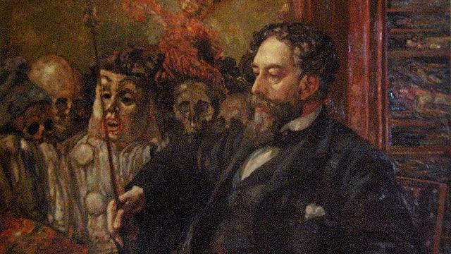 James Ensor umgeben von Totenköpfen und Gerippen in einem Gasthaus.