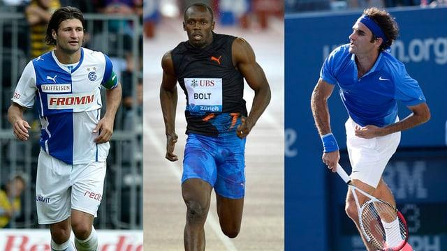 Veroljub Salatic, Usain Bolt und Roger Federer.