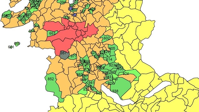 Kartenausschnitt mit der Zuteilung in die Prämienregionen