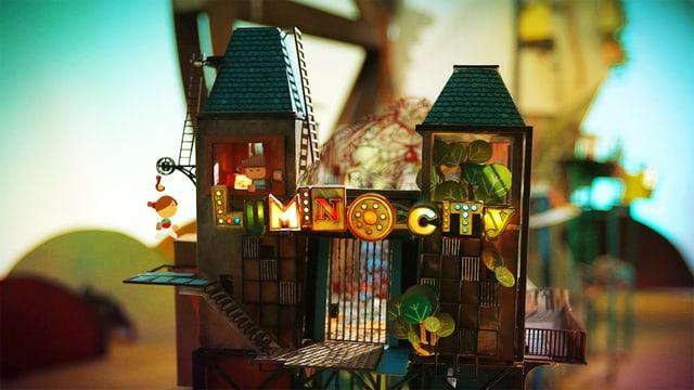 Blick auf ein Haus, an dem «Lumino City» in Leuchtbuchstaben angeschreiben ist.