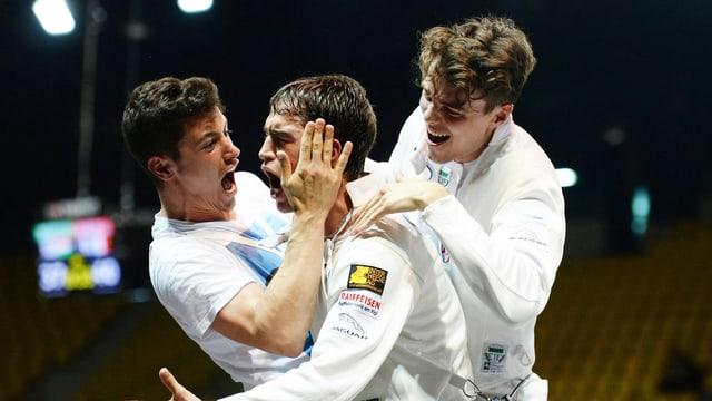 Fabian Kauter, Max Heinzer und Peer Borsky (v.l.) freuen sich über den EM-Titel 2014.