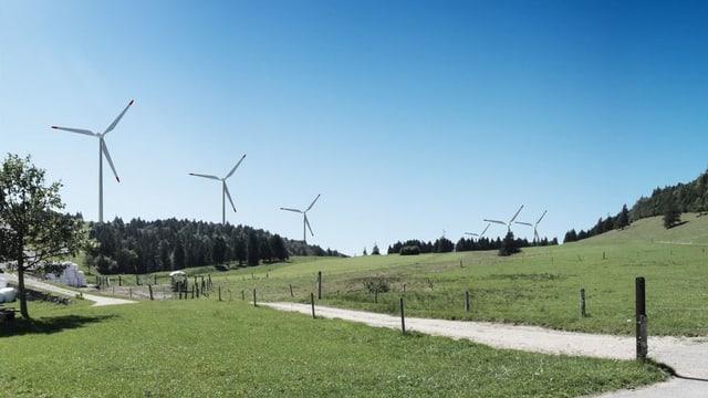 Auf einer grünen Wiese stehen 6 Windräder.