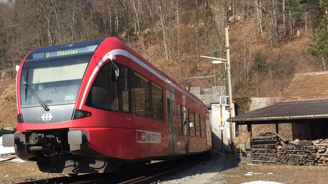 Roter Zug kommt aus Tunnel.