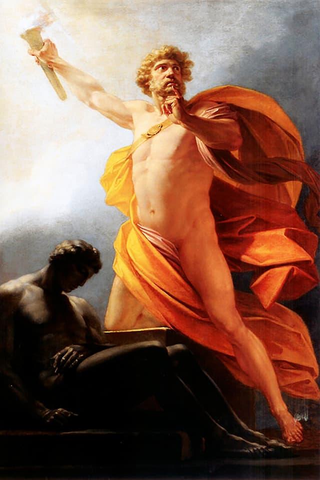 Gemälde eines halbnackten Mannes, der eine Fackel in die Höhe hält.