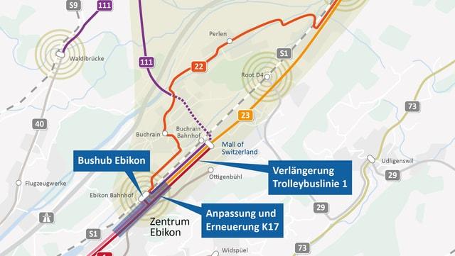 Das Gesamtverkehrskonzept Luzern Ost: Übersichtskarte Zielzustand 2020.