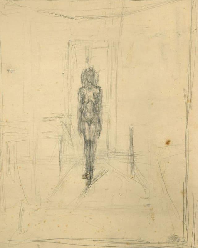 Die eine Seite des Blattes zeigt eine nackte Frau