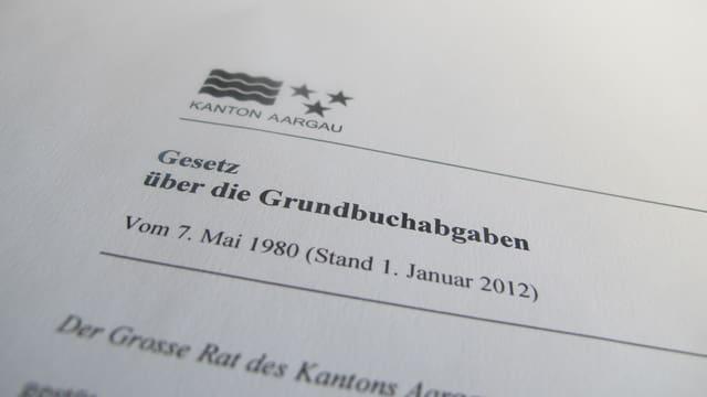 Foto vom Gesetz über die Grundbuchabgaben.