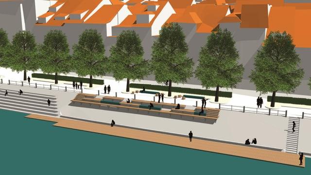 Visualisierungen der geplanten Rheinterassen