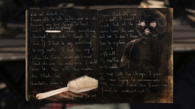 Eine Seite aus Renées Tagebuch. Augen einer Puppe starren uns an.