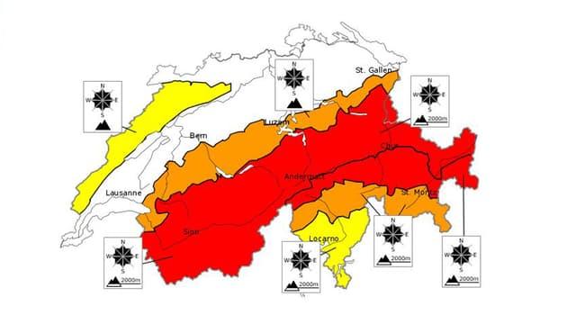 Lawinengefahrenkarte Schweiz, Alpenraum rot (grosse Gefahr), Randgebiete gelb.
