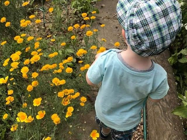 Kind geht durch den Garten