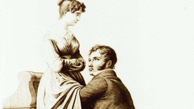 Mann kniet vor Frau bei Untersuchung (zeitgenössische Darstellung)
