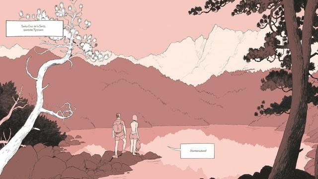 """Comic: Ein Mann und eine Frau stehen an einem See, sie kommentiert: """"Atemberaubend""""."""