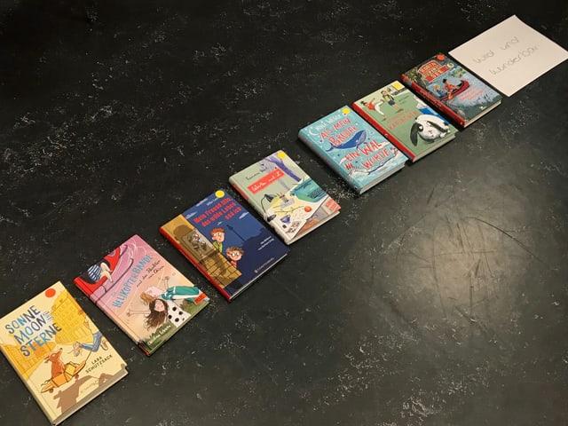 Acht Bücher liegen auf dem Boden in einer Reihe