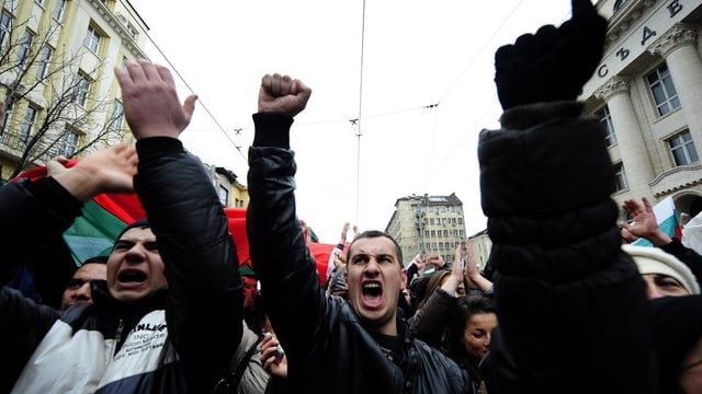 Demonstrierende Bulgaren.