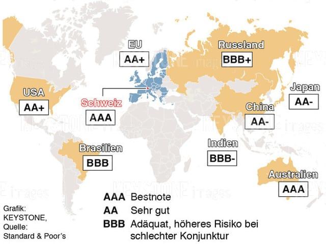 Eine Länderkarte von Standard and Poors mit Ratings der jeweiligen Staaten.
