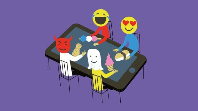 Vier Menschen mit Emoji-Köpfen sitzen um einen Tablet-Tisch.