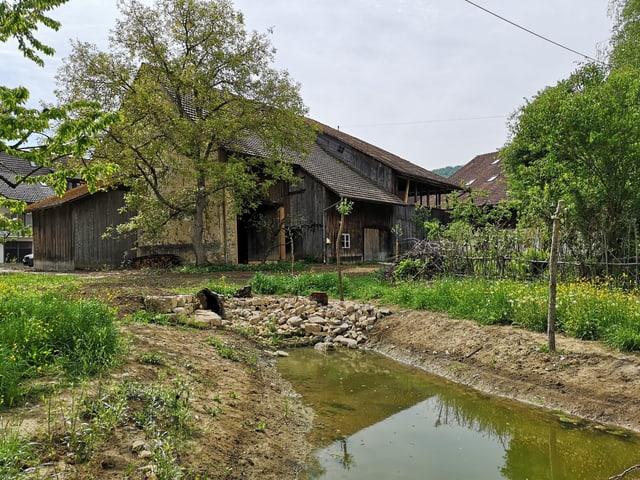 Garten vor altem Haus.