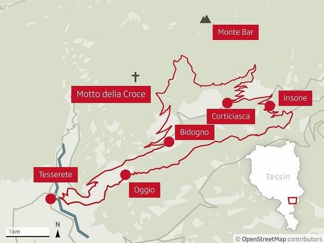 Karte der Veloroute bei Tesserete