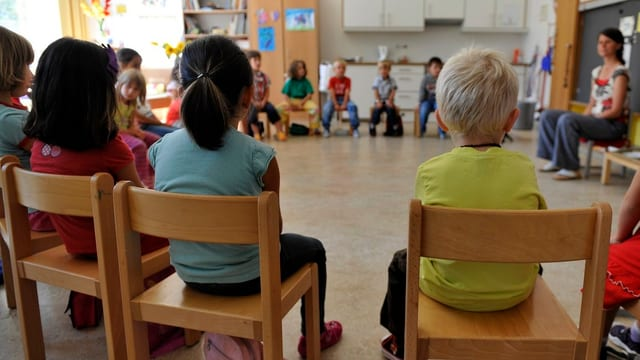 Kinder sitzen in einem Schulzimmer