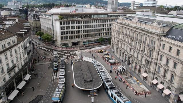 Aufnahme des Zürcher Paradeplatzes