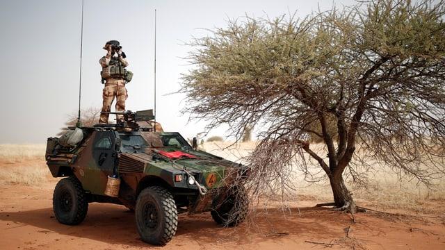 Ein Soldat steht auf einem militärischen Geländefahrzeug und beobachtet das Wüstengelände mit dem Feldstecher.