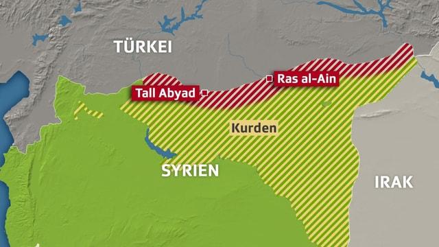 Karte Grenze Syrien zu Türkei.