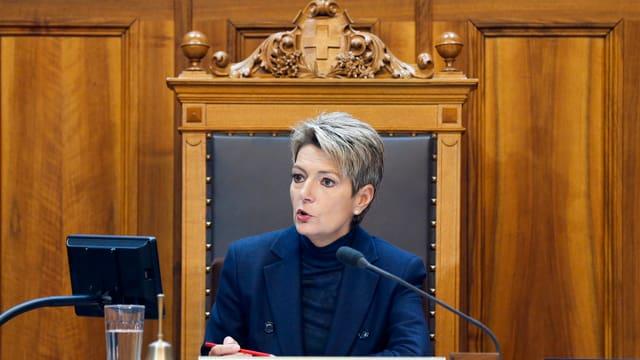 Karin Keller-Sutter im Ständeratssaal.