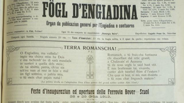 Fögl d'Engiadina cun in artitgel su da l'inauguraziun da la nova lingia