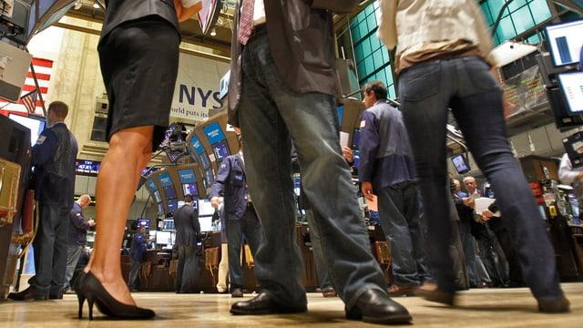 Broker an New Yorker Börse aus Froschperspektive