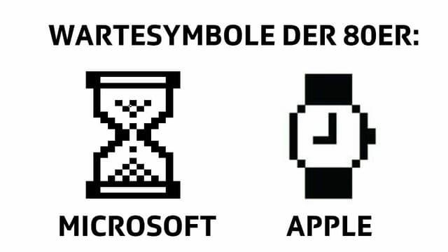 Die Sanduhr von Microsoft und die Armbanduhr von Apple.